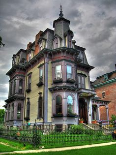 Second Empire Home - The Croff Mansion is a beautiful example of c. French Second Empire architecture designed by architect Gilbert Croff and located in scenic Hudson, NY Victorian Architecture, Beautiful Architecture, Beautiful Buildings, Beautiful Homes, Architecture Design, Residential Architecture, Victorian Style Homes, Victorian Gothic, Victorian Decor