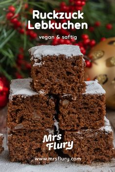 Juicy gingerbread from a tin vegan - Mrs Flury - healthy eating .- Saftiger Lebkuchen vom Blech vegan – Mrs Flury – gesund essen & leben Healthy gingerbread from the tin vegan Mrs Flury - Vegan Sweets, Vegan Desserts, Vegan Gingerbread, Gateaux Cake, Vegan Christmas, Ice Cream Recipes, Healthy Baking, Eat Healthy, Cake Cookies