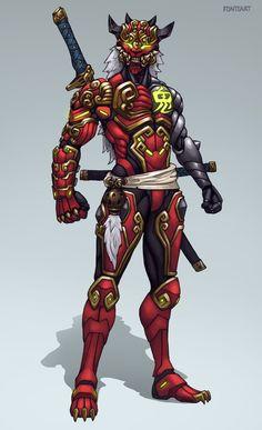Overwatch skin idea: Oni Genji by FonteArt