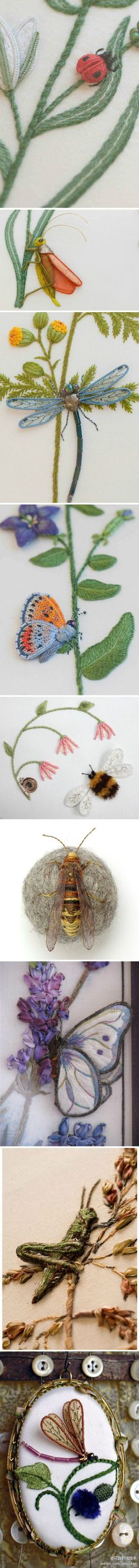 I ❤ stumpwork embroidery . . . Three-dimensional embroidery insects