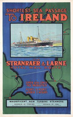 Old Original 1930s Ireland Travel Poster Royal Mail