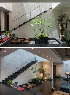 43 Ideas For House Interior Stairs Entryway Indian Home Design, Indian Home Interior, Indian Home Decor, Asian Interior, Courtyard Design, Courtyard House, Interior Stairs, Interior And Exterior, Exterior Design