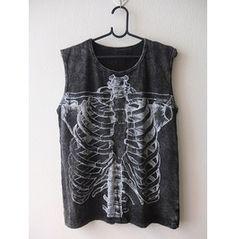 Skull Dead Body Soul Cool Print Punk Rock Stone Wash Vest Tank Top M