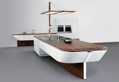 An accessible, nautical themed kitchen.