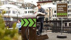 Zurique monta drive-in para bicicletas em cafés da cidade