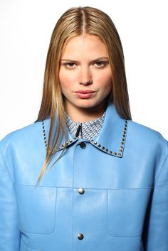 Resort 2013 Trend: Mad About Hue  (Marni's studded leather jacket in cornflower blue, worn with Marni's cotton shirt.)