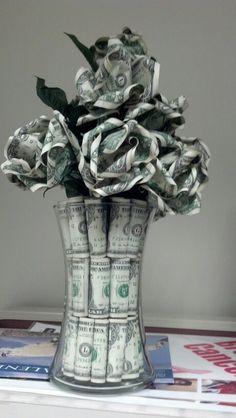 Money Rose, Money Lei, Money Origami, Money Creation, Birthday Money, Boss Birthday, Dollar Bill Origami, Dollar Bills, Money Bouquet
