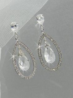 Teardrop Crystal Bridal Earrings, Rhinestone Wedding earrings, Swarovski Crystal Drop Dangle, Bridal jewelry, Alexis Drop Bridal Earrings via Etsy