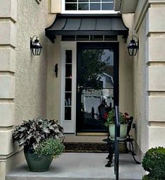 Door Awnings – Design Your Awning Front Door Awning, Door Overhang, Porch Doors, Front Door Colors, Front Stoop, Front Entry, Metal Awnings For Windows, House Awnings, Aluminum Awnings