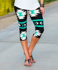 Look what I found on #zulily! Black & Turquoise Geometric Capri Leggings - Women by Mayah Kay Fashion Boutique #zulilyfinds