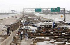 "Hurricane Ike- See the exit sign that says ""Texas City""? Destroyed. I have taken that exit so many times..."