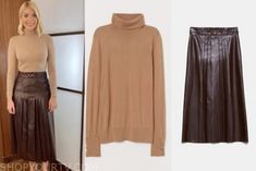 This Morning: February 2020 Holly Willoughby& Beige Turtleneck and Leather Pleated Midi Skirt Holly Willoughby, Pleated Midi Skirt, Turtleneck, February, High Neck Dress, Beige, Tv, Skirts, Leather