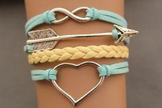 arrow bracelet heart bracelet  bracelet antique silver pendant,green rope and yellow braid bracelet(AB024)