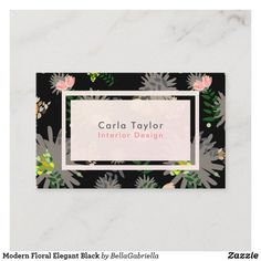Shop Modern Floral Elegant Black Business Card created by BellaGabriella. Japanese Graphic Design, Vintage Graphic Design, Graphic Design Layouts, Graphic Design Posters, Brochure Design, Black Business Card, Elegant Business Cards, Business Card Size, Professional Business Cards