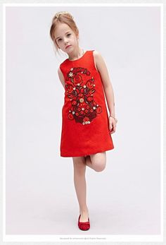 New Arrival Wlmonsoon Princess Babies Girls Flower Rivets Embroider Jacquard Party Dresses Red Color Christmas Dresses Sleeveless Dress Online with $21.51/Piece on Smartmart's Store | DHgate.com