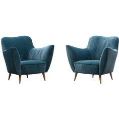 Pair of Guglielmo Veronesi Lounge Chairs, New Upholstery | 1stdibs.com