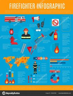 Firefighter infographic with fireman and equipment ,
