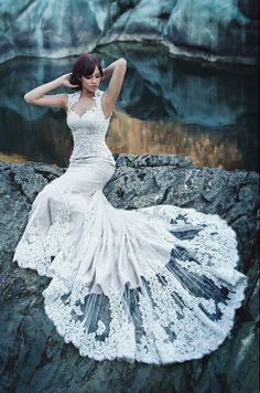 Stunning wedding dress with lace detailing