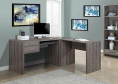 Dark Taupe Office Desk Monarch Specialties Desks Computer Desks Home Office Furniture Home Office Computer Desk, Gaming Desk, Home Office Furniture, Pc Computer, Bedroom Furniture, L Shaped Corner Desk, Executive Office Desk, Look Dark, Contemporary Desk