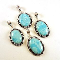 New 4 PCs Lot Larimar Gemstone 925 Silver Plated Necklace Pendants Women Jewelry #Gajrajgems92_9 #Pendant