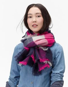 Berkley Pink Check Classic Scarf , Size One Size   Joules UK