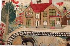 Hooked rug depicting a large homestead with barn, birds, cats, elephant, horse, sheep, deer etc. 33 x 62 inches, John McInnis, Live Auctioneers