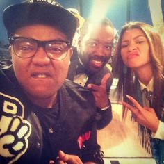 Kyle Massey visiting Zendaya on the set of KC Undercover