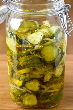 Homemade Refrigerator Bread and Butter Pickles. I love these!! These are so easy to make!