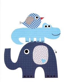 Elephant Alligator Bird Nursery Artwork Print Baby Room Decoration Kids Room…