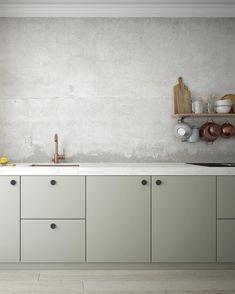 beautiful soft #green #kitchen cabinets with wooden floors #minimalistkitchen