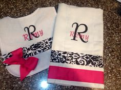 Baby bib and burp cloth personalized on Etsy, $20.00