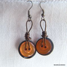 Blue and Orange Button Earrings, Wire-wrapped antiqued bronze wire. $12.00, via Etsy.