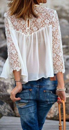 So feminine.A White Lace Splicing Chiffon Long Sleeve T-shirt Mode Style, Style Me, Lingerie Look, Diy Kleidung, Look Boho, Denim And Lace, White Denim, Mode Outfits, Sporty Outfits