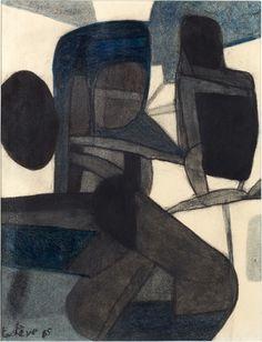 Maurice Estève : fusain et crayon de couleur bleu sur papier 1965