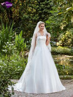 Robe Flora, robe de mariée avec large bretelle, robes pour mariage décolleté dos…