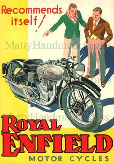Silver Bullet Royal Enfield 1930s Advertising Print by NattyMatty
