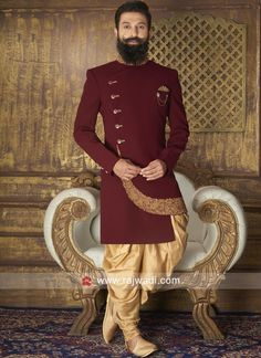 New Arrival Maroon Color Indo Western Sherwani For Men Wedding, Wedding Dresses Men Indian, Groom Wedding Dress, Sherwani Groom, Mens Sherwani, Nigerian Men Fashion, Indian Men Fashion, Mens Fashion Suits, Groom Fashion
