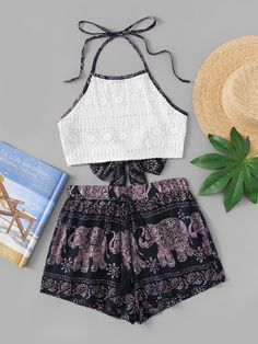 Aug 2018 - Elephant Print Halter Knot Back Top With Shorts -SheIn(Sheinside) Cute Teen Outfits, Teenage Girl Outfits, Cute Comfy Outfits, Kids Outfits Girls, Teenager Outfits, Pretty Outfits, Stylish Outfits, Cool Outfits, Summer Outfits