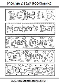 printable bookmarks to color | Mother's Day - Kids Puzzles and Games