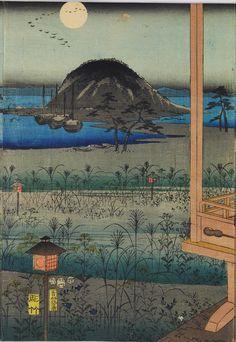 Autumn Moon Landscape, by Utagawa Hiroshige Japanese Prints, Japanese Art, Vintage Art, Vintage World Maps, Space Gallery, Japanese Landscape, Wallpaper Size, The Masterpiece, Triptych