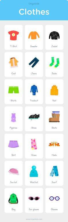 Learn Clothes name in English for Kids #clothes #english #kids #vocabulary #grammar #worksheet #printable #activities #charts #flashcard