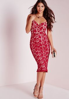 Missguided - Strappy Lace Midi Dress Red