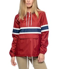 The Shiloh red pullover windbreaker from Zine features a quarter length zipper, an adjustable drawstring hood and a front storage pouch with an interior key clip. This jacket is perfect for a camping trip, a hike, or anywhere you need some lightweight cov