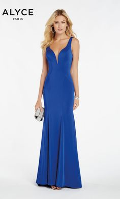 4787cb4303 Alyce Paris Style 60280 Fitted Stretch Crepe Dress With Low V Neck And  Caged Back.