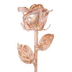 Real Rose Dipped in 24k Gold w/ Crystal Vase - Venus Rose (Open Bud)