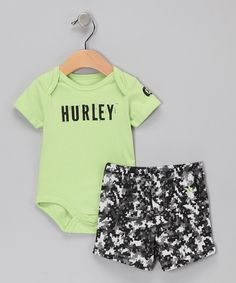 Lime Camo 'Hurley' Bodysuit & Shorts - Infant