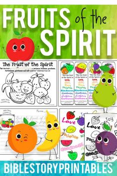 Free Fruits of the Spirit Bible Printables.  Coloring Pages, Bookmarks, Games, Copywork, Classroom Decor and more!  Free from BibleStoryPrintables.com