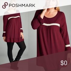 """Burgundy Plus Size Tunic Top w/ Ivory Crochet Trendy Burgundy colored gorgeous Tunic Top with ivory crochet detail. Measures 32"""" long, sleeves measure 23"""" long. 1X bust measures 42 inches, 2X bust is 44 inches. Rayon Spandex so there is stretch to the fabric as well. Sizes 1X, 2X available. If you have any questions at all please let me know. Tops Tunics"""