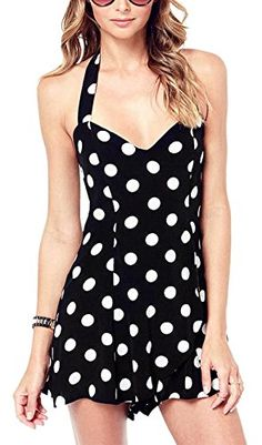 5cae94daad Lingswallow Women Sexy V Halter Backless Polka Dot Playsuit Jumpsuit Short  Black    Learn more by visiting the image link.