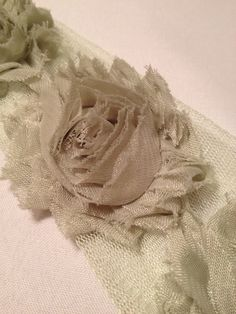Light Olive Green Chiffon Flowers by MonAmiePaperie on Etsy, $5.44